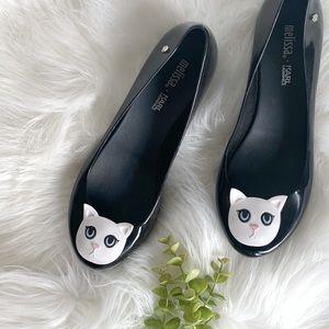 Karl Lagerfeld for Melissa black cat flats